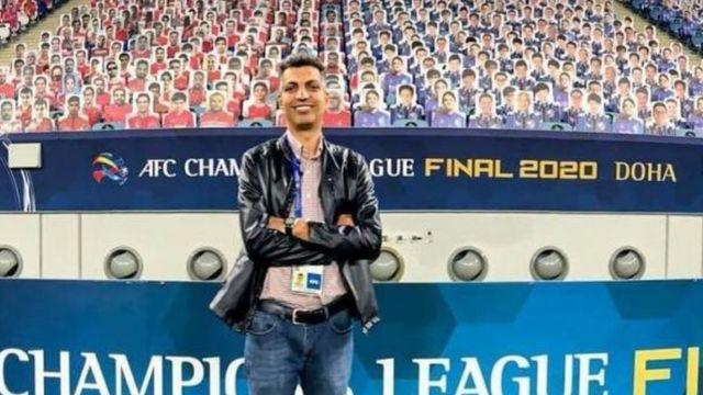 فردوسی پور در استادیوم محل برگزاری فینال لیگ قهرمانان آسیا