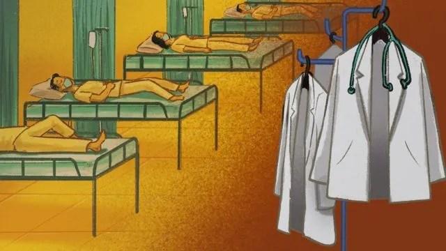 병상에 누워있는 환자들