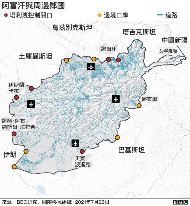 地图:阿富汗与周边邻国通关地点分布