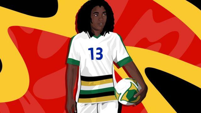 Une illustration de la footballeuse Eudy Simelane, portant le maillot national de l'Afrique du Sud et tenant un ballon de football, sur fond rouge, jaune et noir