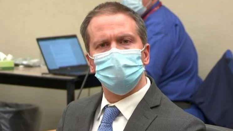 Derek Chauvin al escuchar el veredicto.
