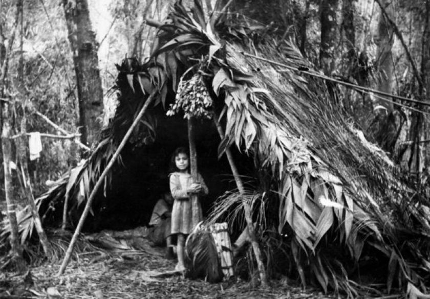Xokleng child at forest camp in 1963