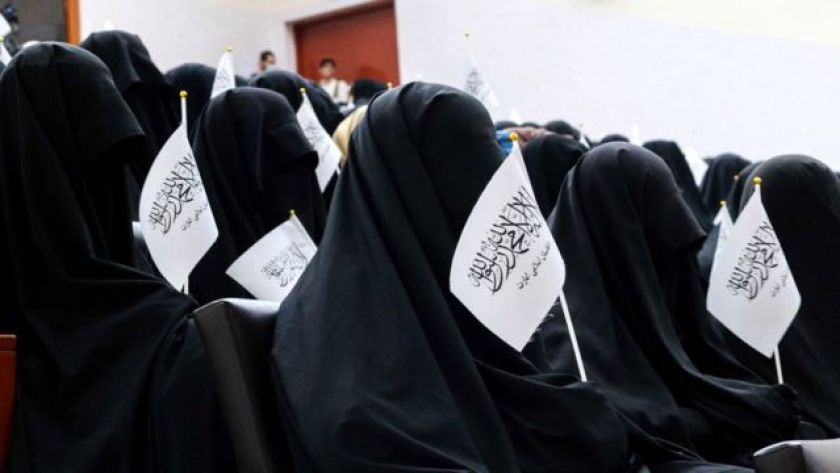 Women protest pro-Taleban at university in Kabul, defending new dress code imposed by fundamentalist group