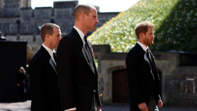Prince William and Prince Harry walked on either side of their cousin Peter Phillips