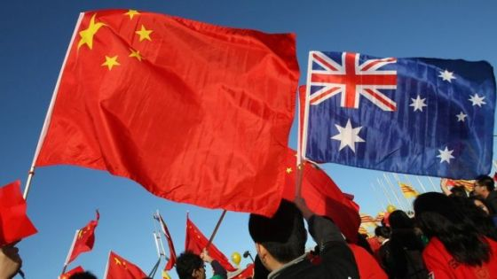 Chinese and Australian flags