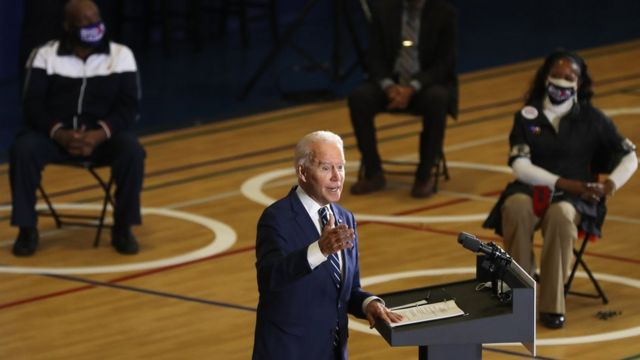 Biden during a rally in Michigan