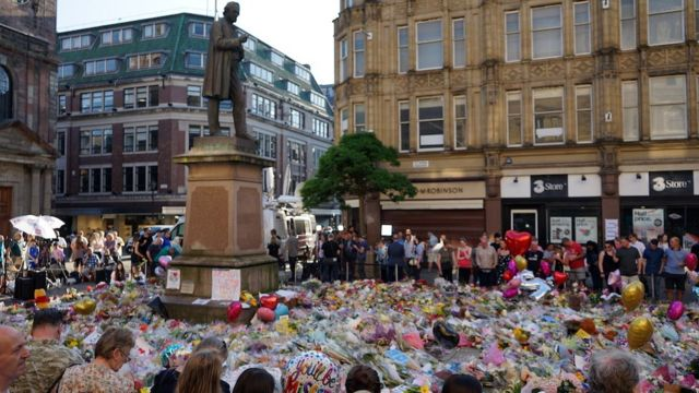 The city of Manchester mourned bombing victims in 2017