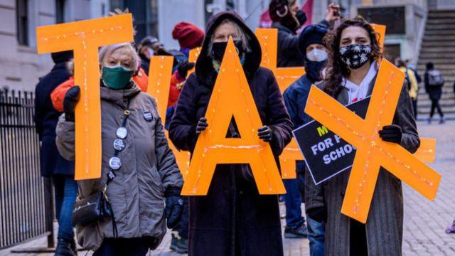 Manifestantes en Wall Street