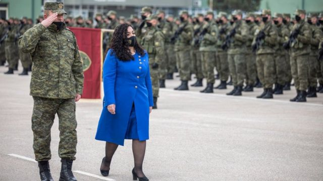 Fossa Osmani during a military parade commemorating Kosovo's declaration of independence