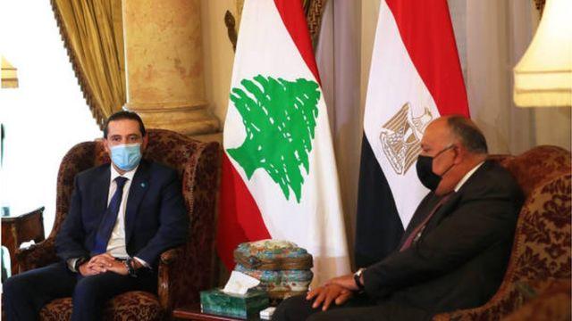 Saad Hariri and Sameh Shoukry