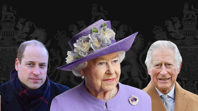 الملكة والأمير تشارلز والأمير وليام