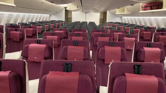 Empty Qatar Airways flight to Sydney