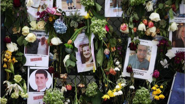 Fotos de los desaparecidos en el derrumbe.