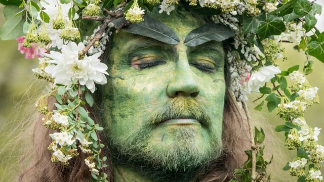 One of Glastonbury's Greens, in England, celebrates the coming of May 2018