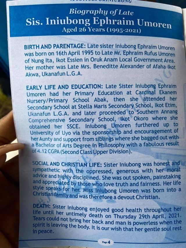 Iniubong Umoren burial: Photos from late 'Ini' funeral and how di event  happen - BBC News Pidgin