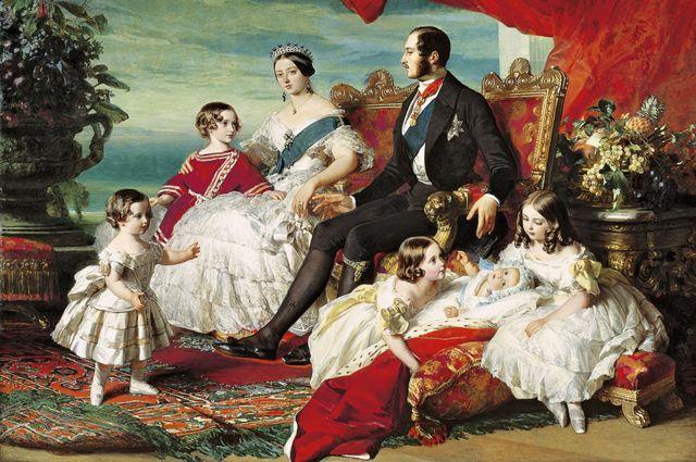 Pintura da rainha Vitória, príncipe Albert e sua família em 1846, por Franz Xavier Winterhalter
