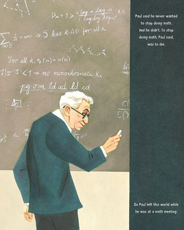 """(Imagen de """"El niño que amó las matemáticas: la improbable vida de Paul Erdos"""" de Deborah Heiligman, con ilustraciones de LeUyen Pham ©2013 Derechos Reservados)."""