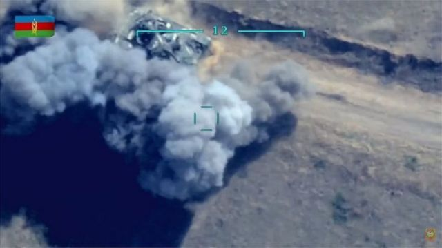 The picture released by the Azerbaijani Ministry of Defense said it was of two Armenian tanks that were destroyed