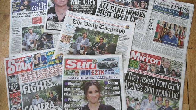 منشورات الصحف البريطانية حول مقابلة ميغان والأمير هاري مع أوبرا وينفري في 8 مارس/آذار2021