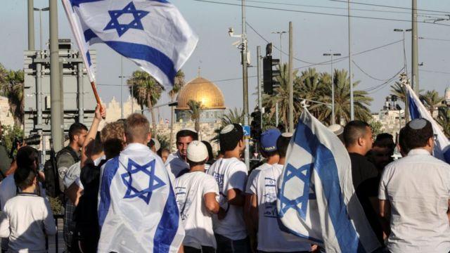 Israeli flags march