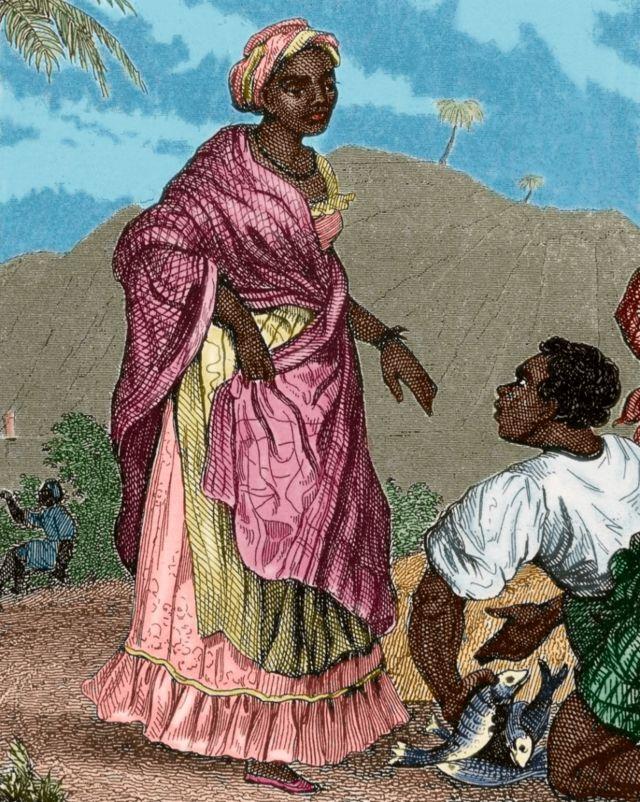 Mujer y hombres negros