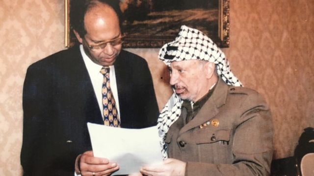 Building with Yasser Arafat in 1999
