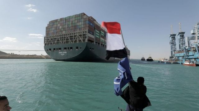 The ship was floated again after a rescue operation involving a fleet of locomotives and rigs