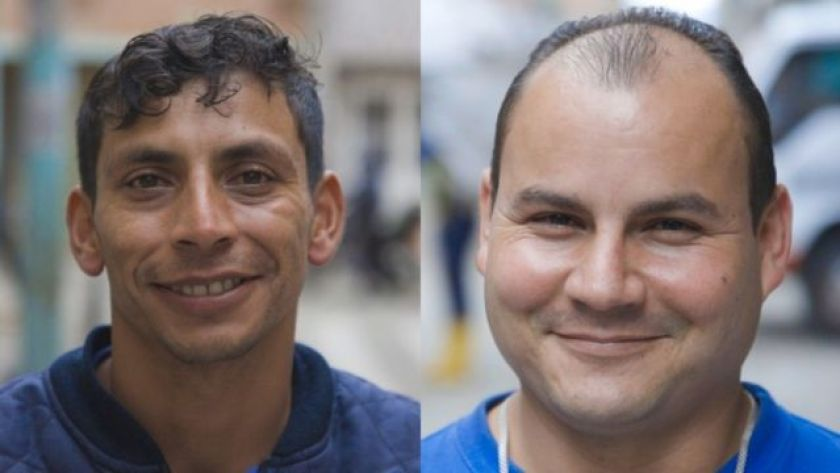 Two pictures of men smiling at the camera.