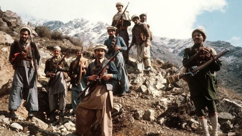 Afghan anti-Soviet resistance fighters with their primitive weapons in the eastern parts of the country