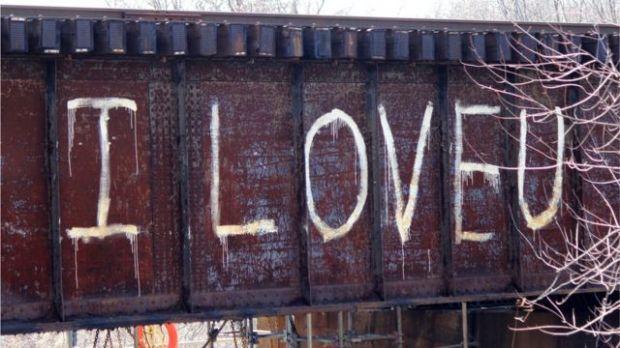 Grafiti de I love you, te amo en inglés.