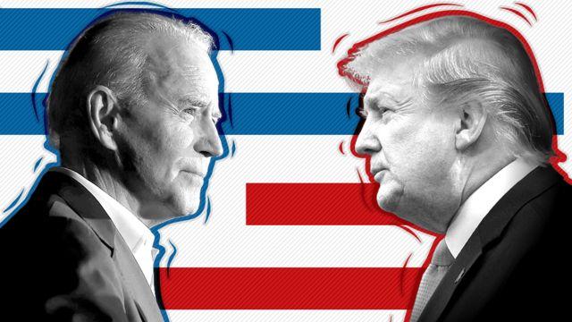 Imagen compuesta de Joe Biden y Donald Trump