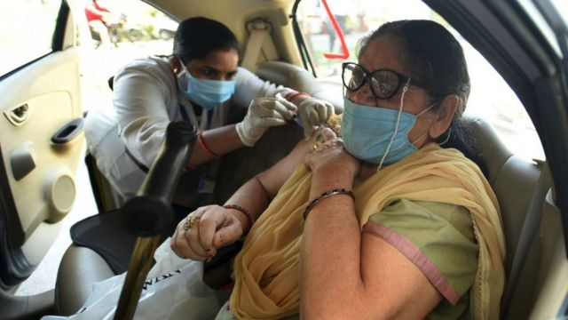Indian woman vaccinated - 19 May 2021