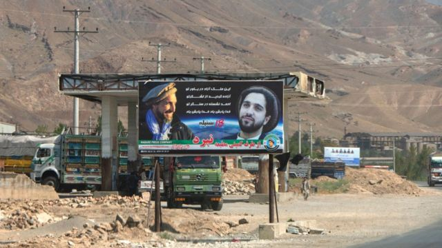 Billboard in Panjshir Valley shows Ahmad Massoud and his son with the slogan: 'Thanks to your army you can dream of a free country/Ahmad is by your side/God protect you' on September 10, 2019.