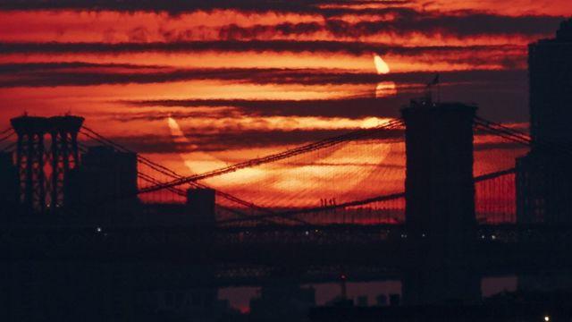 Vista del eclipse solar anular en Nueva York