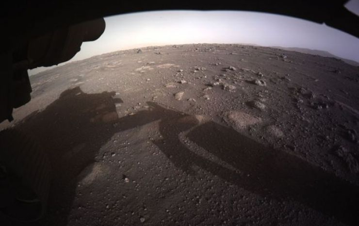 Colour image of Mars taken by the Hazard Cameras on the underside of Nasa's Perseverance Mars rover