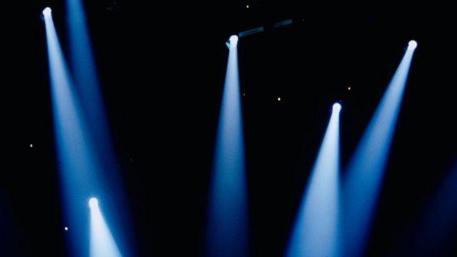 Lots of spotlights beam downwards