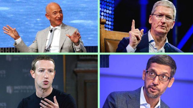 Jeff Bezos, de Amazon; Tim Cook, de Apple; Mark Zuckerberg, de Facebook y Sundar Pichai, de Google