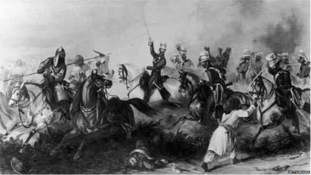 A scene from the battle of Mughals