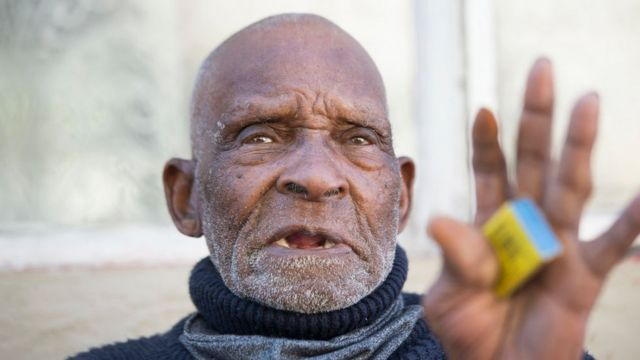 Fredie Blom, pictured on his 116th birthday at his home in Delft, near Cape Town (8 May 2020)