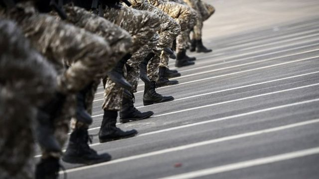 File photo showing members of the Saudi security forces march during a military parade in Mecca on 17 September 2015