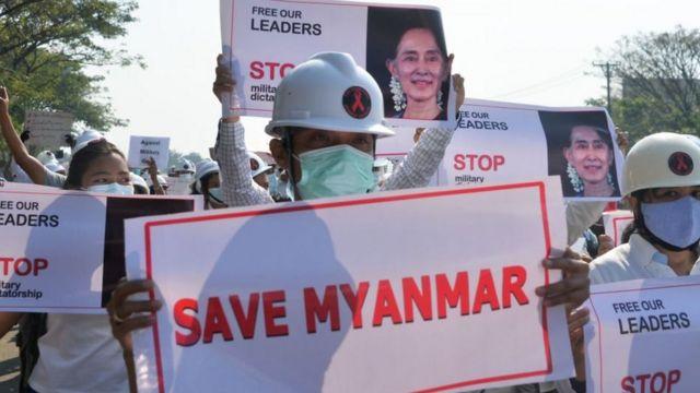 Protests in Myanmar demanding the return of San Suu Kyi.