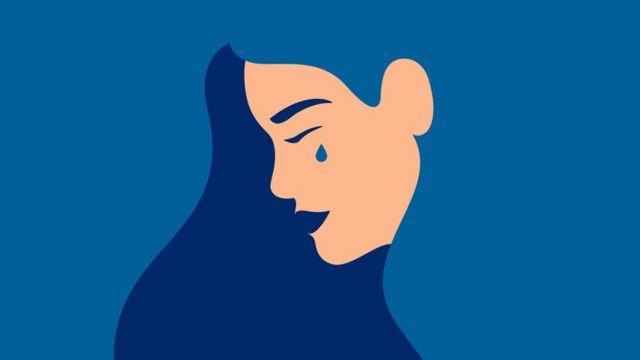 Ilustração de mulher chorando