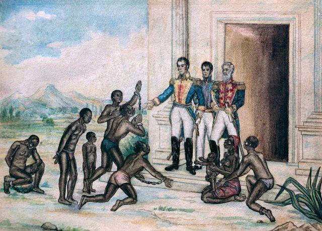Simón Bolívar con un grupo de esclavos
