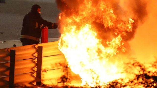 The fire after Roman Grojan's car capsized
