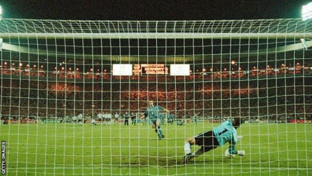 Gareth Southgate's penalty is saved in the Euro '96 semi-final shoot-out