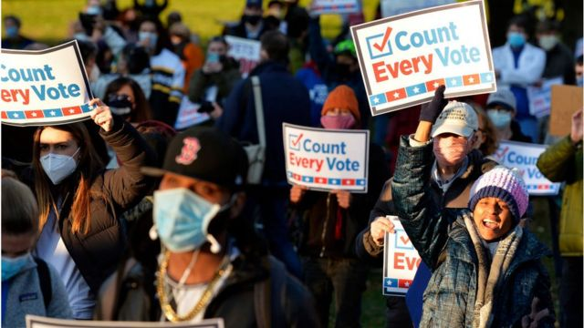 Protesters are calling for all votes counted