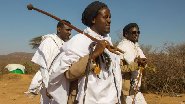Kura Jarso the 71st Borana Oromo Abba gadaa and his councilors, Oromia, Yabelo, Ethiopia on March 7, 2017 in Yabelo, Ethiopia