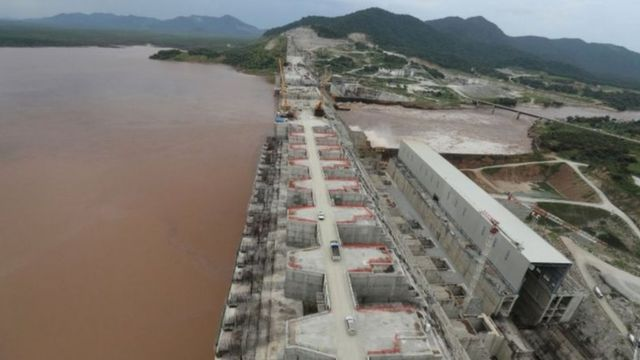 A picture of the Grand Ethiopian Renaissance Dam at the end of the 2019 rainy season