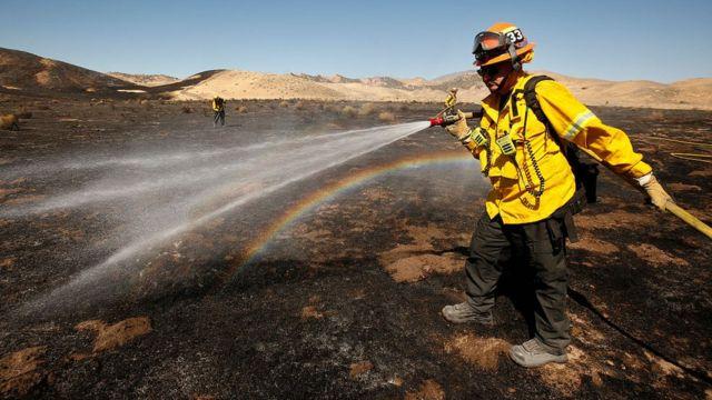 Fire officer near Gorman. Pasadena, California