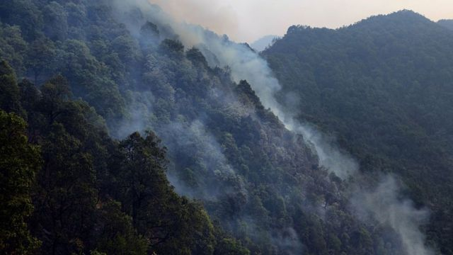 直升机将水倒在野火后,山火冒出一浪